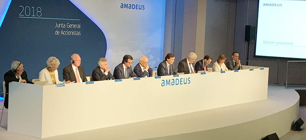 Luis Maroto, este jueves, durante su intervención en la junta general de accionistas de Amadeus IT Group.